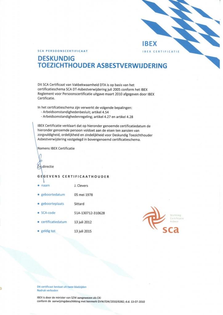 Deskundig Toezichthouder Asbestsloop J. Clevers