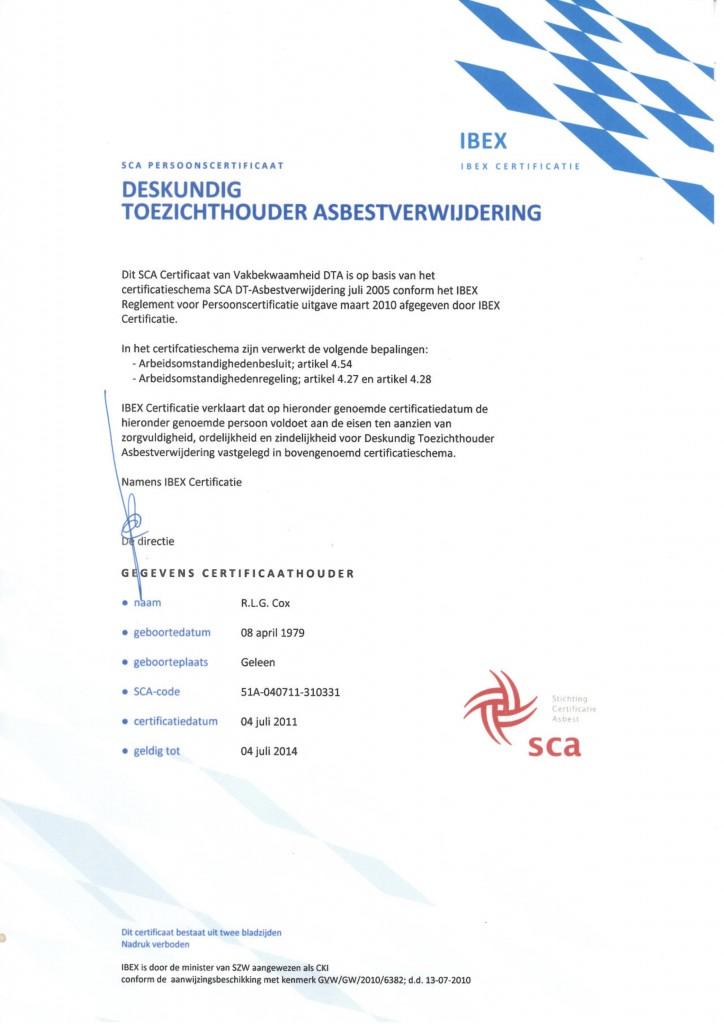 Deskundig Toezichthouder Asbestsloop R. Cox