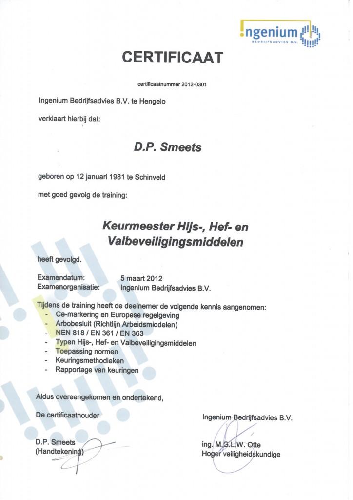 Keurmeester hijs-, hef- en valbeveiliging D. Smeets