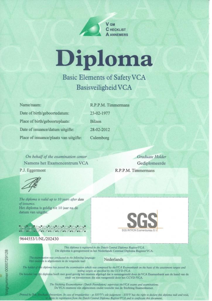 Veiligheids Certificaat Aannemers R. Timmermans