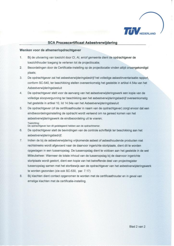 SCA Procescertificaat Asbestverwijdering deel 2 Clevers Asbestsanering