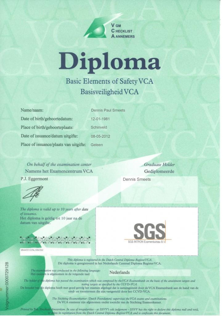 Veiligheids certificaat Aannemers D. Smeets